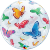 Színes pillangós bubble héliumos lufi