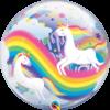 Szivárvány unikornis szülinapi bubble héliumos lufi
