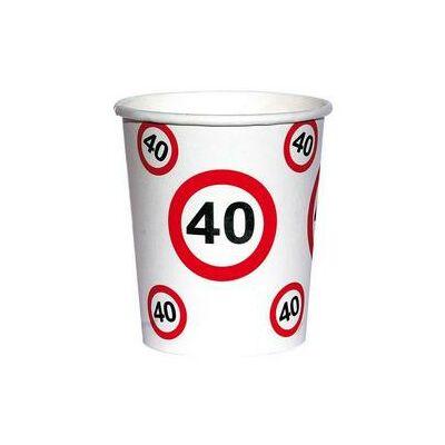 40. szülinapi sebességkorlátozó papír pohár 6 db