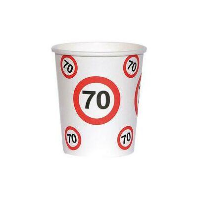 70. szülinapi sebességkorlátozó papír pohár 6 db
