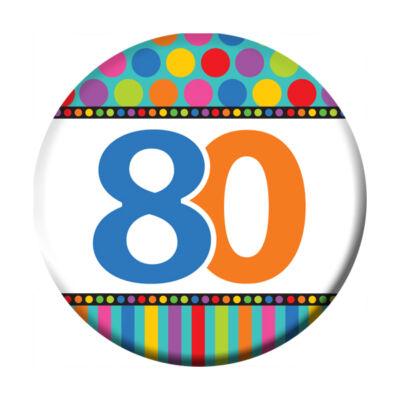 80. szülinapi színes kitűző