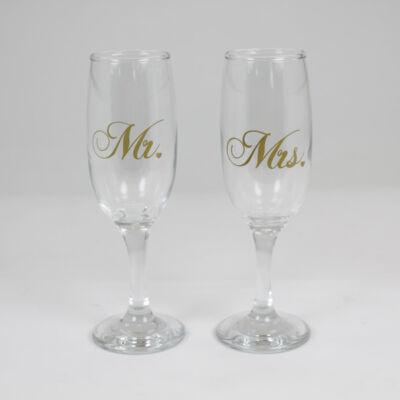 Mr. és Mrs. pezsgőspohár  26e479513a