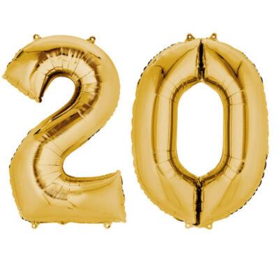 Arany 20 szám szülinapi héliumos lufi