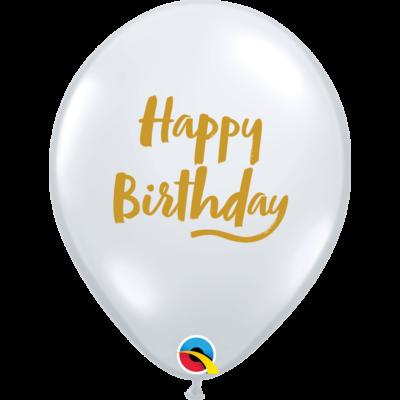 Átlátszó arany feliratos Happy Birthday lufi
