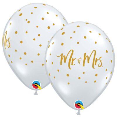 Átlátszó arany pöttyös Mr és Mrs esküvői lufi