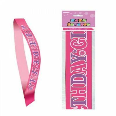 Pink birthday girl szülinapi szalag
