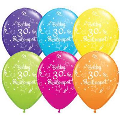 Boldog 30. szülinapot héliumos lufi