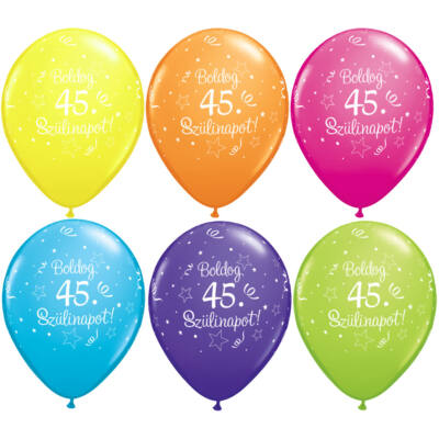 Boldog 45. szülinapot lufi 5 db