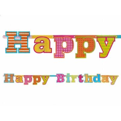 Színes Happy Birthday felirat