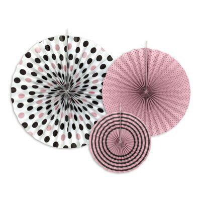 Rózsaszín-fekete legyező szett 3 db