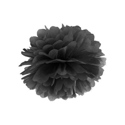 Fekete selyempapír pompom 35 cm