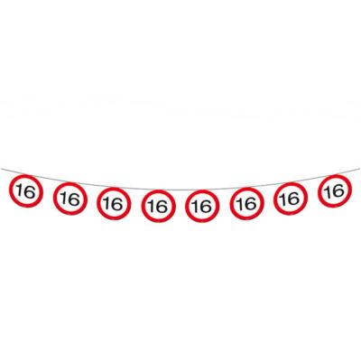 16. szülinapi sebességkorlátozó tábla füzér