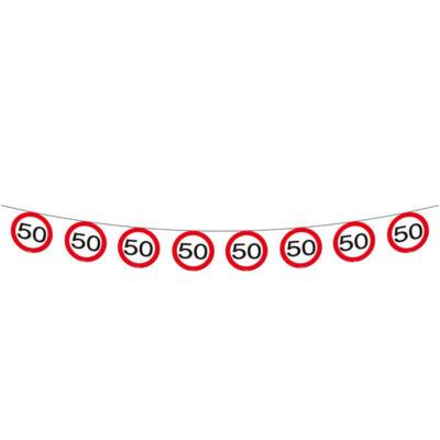 50. szülinapi sebességkorlátozó tábla füzér