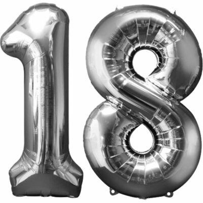 Ezüst 18 szám szülinapi héliumos lufi
