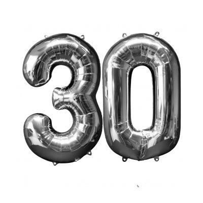 Ezüst 30 szám szülinapi héliumos lufi