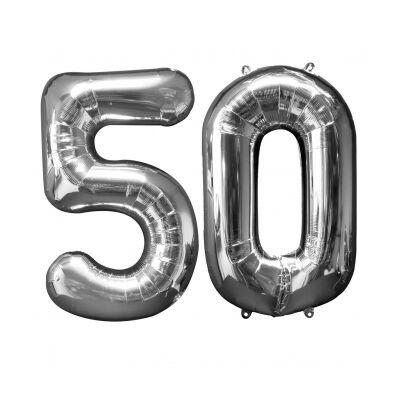 Ezüst 50 szám szülinapi héliumos lufi