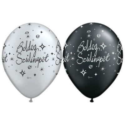Ezüst és fekete boldog szülinapot héliumos lufi