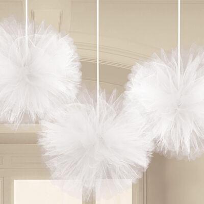 Fehér tüll pompom függő dekoráció 3 db