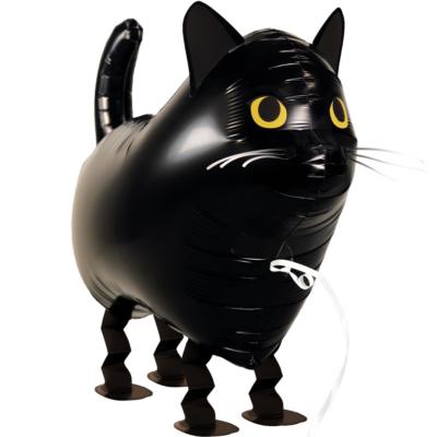 Fekete macska sétáló héliumos lufi