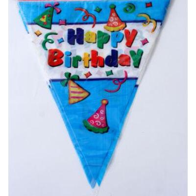Happy birthday kék partis zászlófüzér