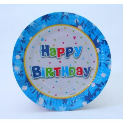Happy birthday kék tányér