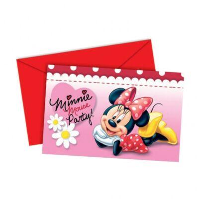 Minnie egér pöttyös-virágos szülinapi meghívó