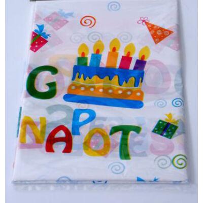 Színes boldog születésnapot terítő