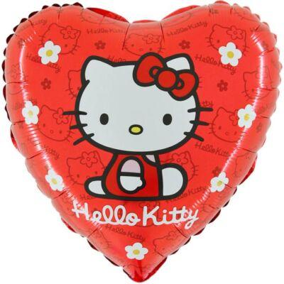 Piros-virágos hello kitty héliumos lufi