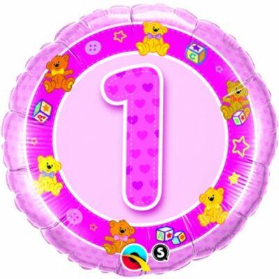 1 szülinapi rózsaszín mackók héliumos lufi