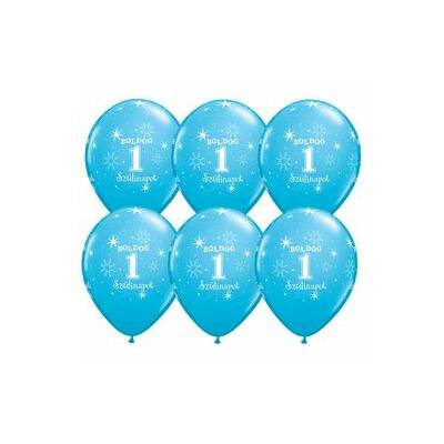 Kék boldog első szülinapot héliumos lufi
