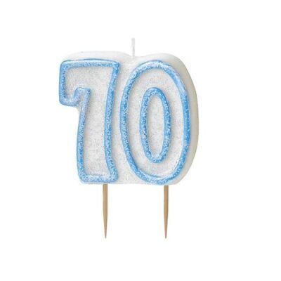 Kék csillámos 70 szülinapi gyertya