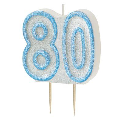 Kék csillámos 80 szülinapi gyertya