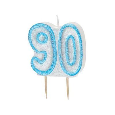 Kék csillámos 90 szülinapi gyertya