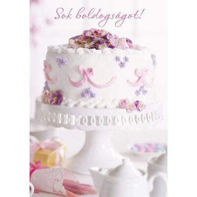 Esküvői képeslap fehér tortás
