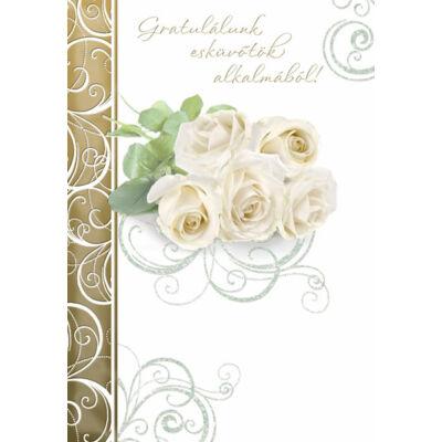 Esküvői képeslap fehér rózsás