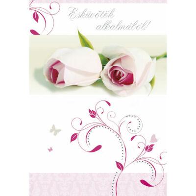 Esküvői képeslap rózsaszín rózsás