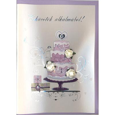 Esküvői képeslap elegáns virágos esküvői tortával