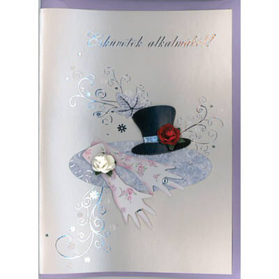 Esküvői képeslap elegáns esküvői kiegészítőkkel