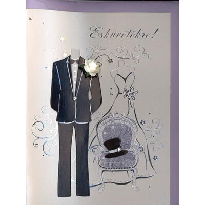 Esküvői képeslap elegáns esküvői ruhákkal