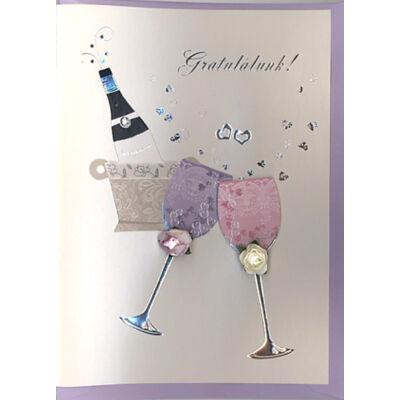 Esküvői képeslap elegáns esküvői poharakkal
