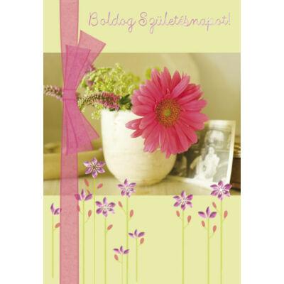 Szülinapi képeslap pink virágos