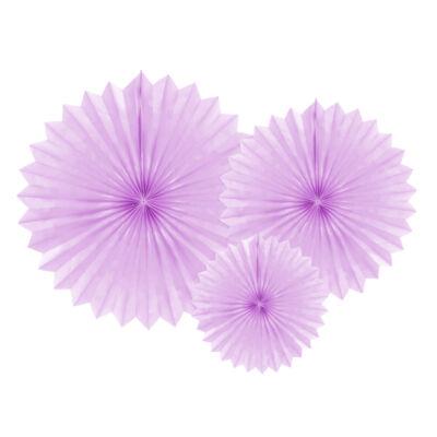 Levendula lila selyempapír legyező szett 3 db