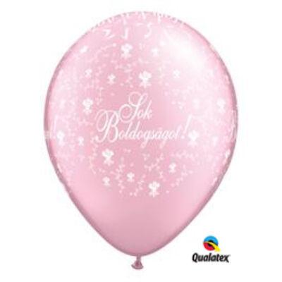 Rózsaszín Sok boldogságot virágos lufi 28 cm