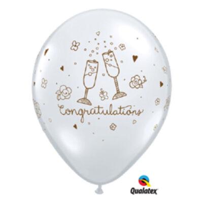 Átlátszó esküvői gratulációs lufi 28 cm