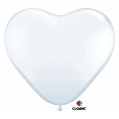 Fehér szív lufi 38 cm