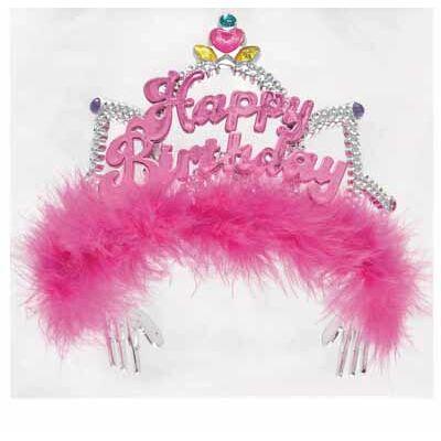 Szülinapi tiara pink tollas