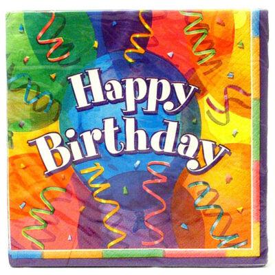 Happy birthday színes lufis szalvéta