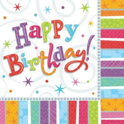 Happy birthday színes szalvéta