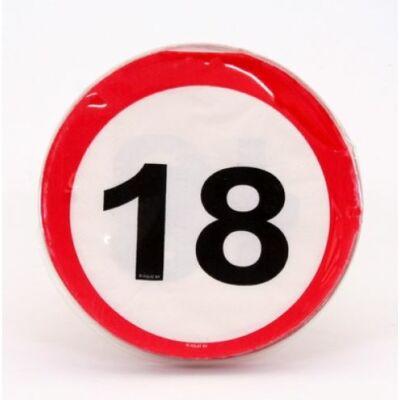 18. szülinapra sebességkorlátozó tábla szalvéta