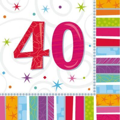 40. színes szülinapi szalvéta